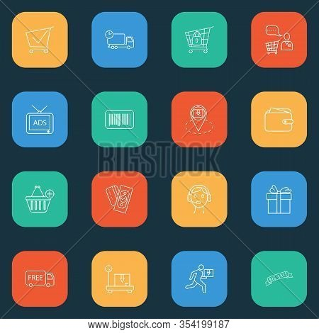 Ecommerce Icons Line Style Set With Shopping Cart, Call Center, Shopping Assistant And Other Trolley
