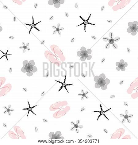 Flip Flop Shoe On Seamless Vector Pattern Background. Pretty Sandals, Starfish And Shells Oceanside