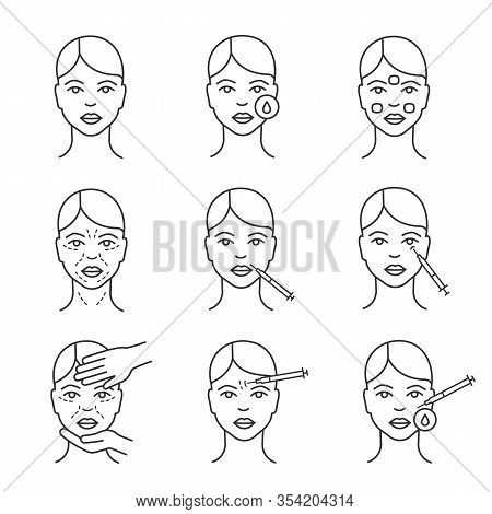 Neurotoxin Injection Cosmetic Procedures Linear Icons Set. Thin Line Contour Symbols. Makeup Removal