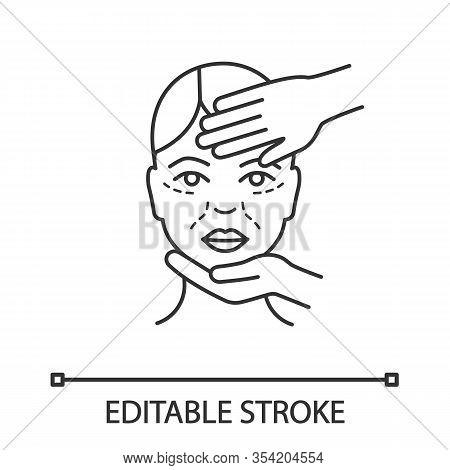 Cosmetologist Examination Linear Icon. Cosmetic Procedure. Thin Line Illustration. Neurotoxin Inject
