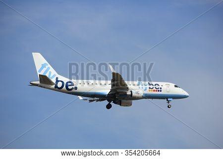 Amsterdam, The Netherlands - July 21st 2016: G-fbjf Flybe Embraer Erj-175std, Approaching Polderbaan