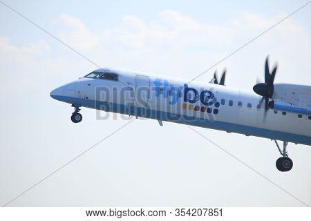 Amsterdam The Netherlands - April 2nd, 2017: G-jech Flybe De Havilland Canada Dhc-8-402q Dash 8 Take