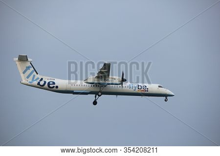 Amsterdam, The Netherlands - June 22nd 2017: G-ecoa Flybe De Havilland Canada Dhc-8-400 Approaching