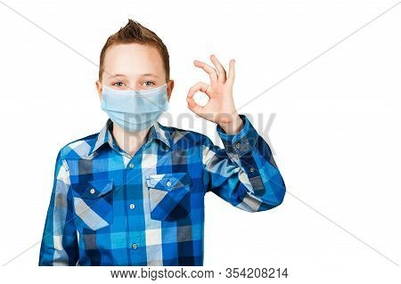 Boy Show The Ok Sign, Wearing Protective Face Mask Prevent Virus Infection Or Pollution On White Iso