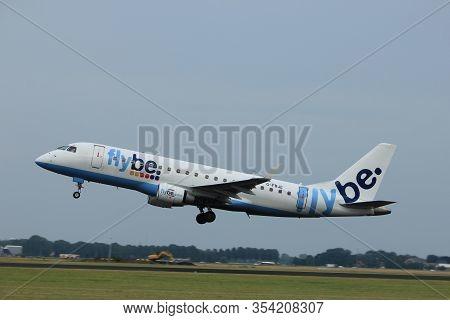 Amsterdam The Netherlands - July 6th, 2017: G-fbje Flybe Embraer Erj-175  Takeoff From Polderbaan Ru