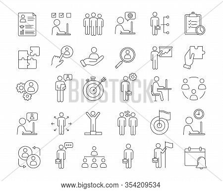 Business Management Linear Icons Set. Headhunting And Hr Management. Teamwork And Leadership. Busine