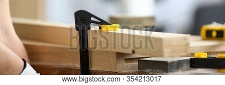 Woodworker Fastens Wooden Parts On Workbench. Vise Is Installed On Workbench. Careful Processing And