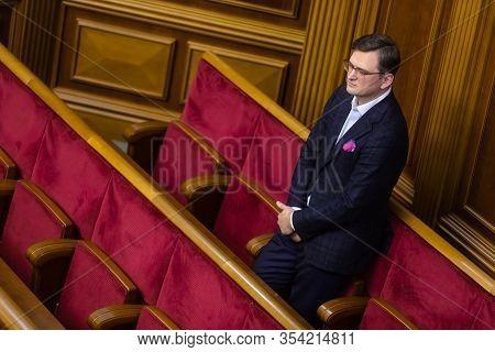 Kyiv, Ukraine - Mar. 04, 2020: Minister Of Foreign Affairs Of Ukraine Dmitry Kuleba During The Sessi