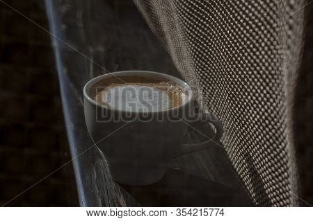 Coffee Selective Focus. White Cup With Cappuccino On The Nature. White Cup With Cappuccino, Coffee,