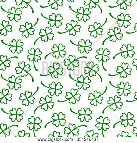 Green Shamrock Seamless Pattern. Saint Patricks Day. Lucky Shamrock Isolated On White Background.