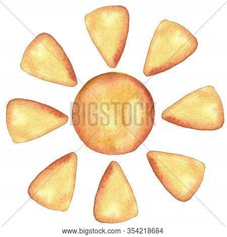 Maslenitsa, Russian Pancake Week, Shrove Big Set With Pancakes, Sun, Fire. Rustic Design Elements Of