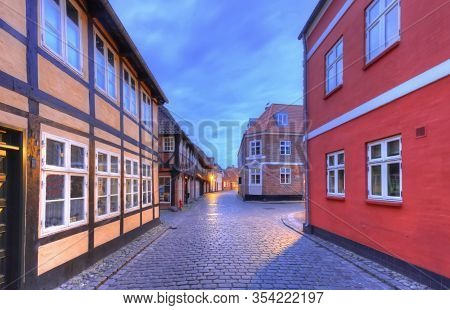 Street In Famous Medieval City Of Ribe, Denmark - Hdr