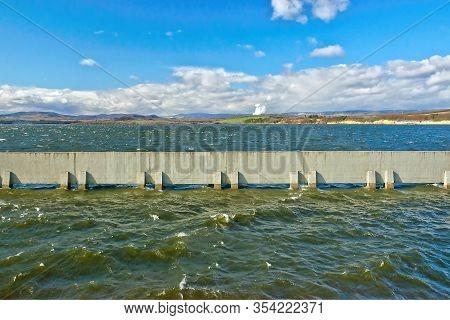 Nechranice, Czech Republic - February 26, 2020: Water On Nechranice Dam