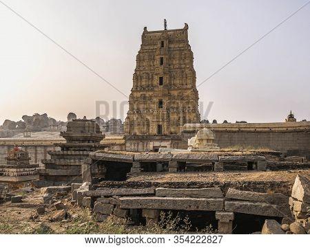 Vijayanagara Ruins Of The Former Capital Of The Vijayanagar Empire In The Village Of Hampi In The No