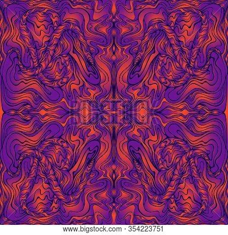 Vintage Psychedelic Trippy Colorful Waves Fractal Mandala. Ggradient Neon Colors Orange, Purpule And