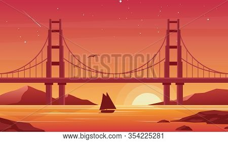 Bridge And Boat At Sunset Flat Vector Illustration. Beautiful San Francisco Landscape, Pleasure Boat