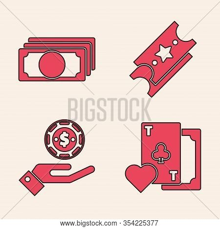 Set Playing Card With Clubs Symbol, Stacks Paper Money Cash, Lottery Ticket And Hand Holding Casino