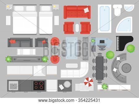 Vector Illustration Set Of Furniture Top View. Design Elements For Interior Design. Flat Interior To
