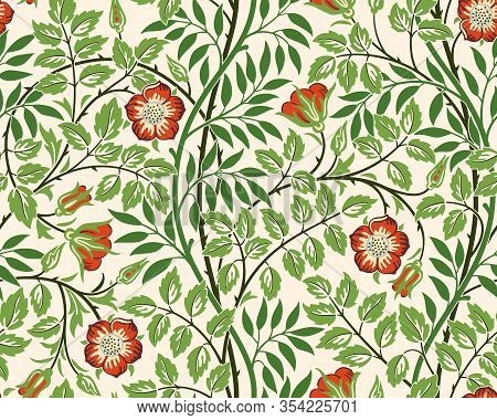 Vintage Floral Seamless Pattern Background With Red Roses And Foliage On Light Background. Middle Ag