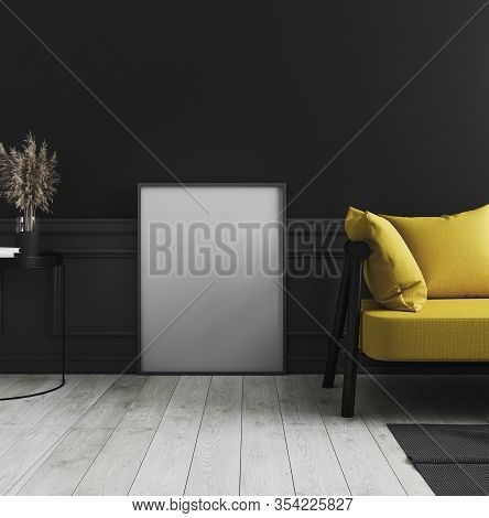 Blank Vertical Poster Frame Mock Up Standing On White Wooden Floor In Dark Modern Interior Backgroun