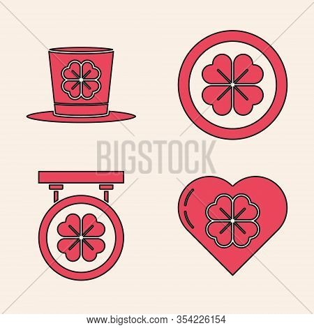 Set Heart With Four Leaf Clover, Leprechaun Hat And Four Leaf Clover, Gold Coin With Four Leaf Clove