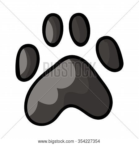 Cute Cartoon Spotted Grey Dog Paw Print Vector Clipart. Wildlife Animal Foot Print For Dog Lovers. S