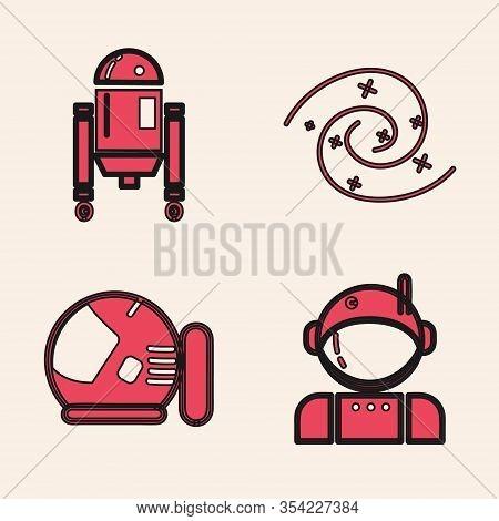 Set Astronaut, Robot, Black Hole And Astronaut Helmet Icon. Vector