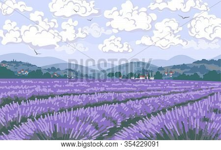 Simple Natural Horizontal Background With Blooming Lavender Field Scenery. Serenity Nature Landscape