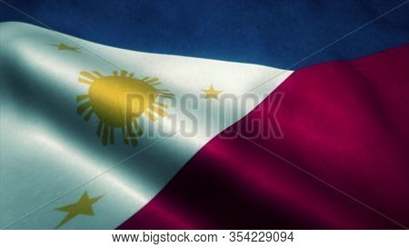 Philippines Flag Waving In The Wind. National Flag Of Philippines. Sign Of Philippines. 3d Illustrat