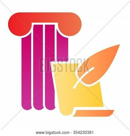 Art Of Writing Flat Icon. Ancient Column With Feather Pen And Papyrus Paper. History Subject Vector
