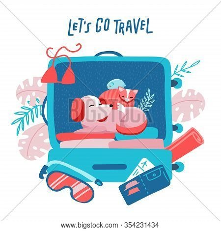 Travel Suitcase With Dog, Cat And Hamster. Travelling With Animals Concept. Minimalism Design With H