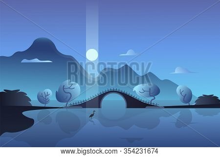 Mountain Night Landscape. Crane In The Moonlight On The Background Of The Bridge. Vector Illustratio