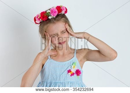 Headache Migraine Person, Kid Stressed. Closeup Portrait Young Girl Girl With Migraine Headache Over