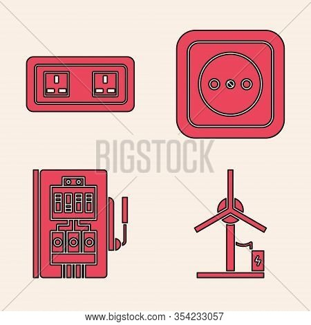 Set Wind Turbine, Electrical Outlet, Electrical Outlet And Electrical Panel Icon. Vector
