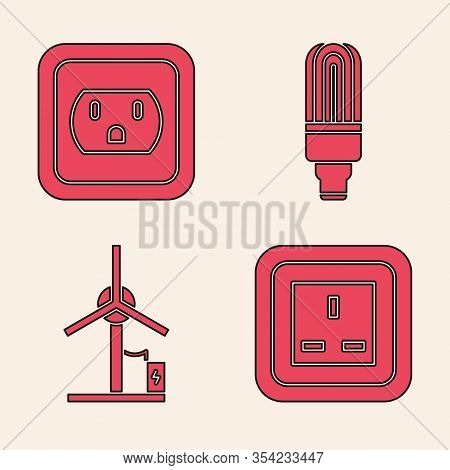 Set Electrical Outlet, Electrical Outlet In The Usa, Led Light Bulb And Wind Turbine Icon. Vector