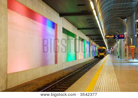 Subway Platform With Colorful Lighting
