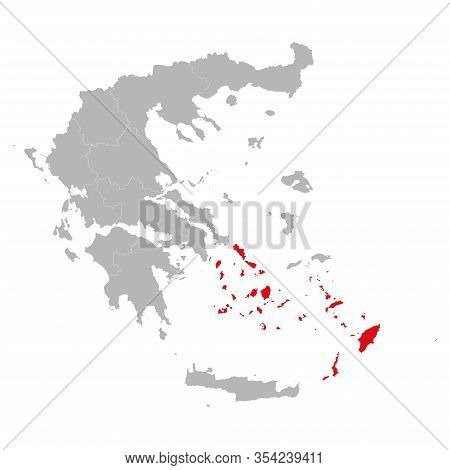 South Aegean Province Highlighted Red Color On Greece Map Vector. Gray Background.