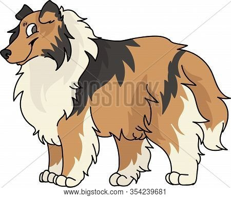 Cute Cartoon Rough Collie Dog Breed Vector Clipart. Pedigree Kennel Sheepdog For Dog Lovers. Purebre