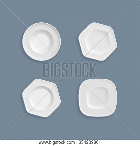 Kitchen Utensils, Plate And Dish Clean For The Kitchen, China. Set Of White Plates, Bowls, Dishes, V