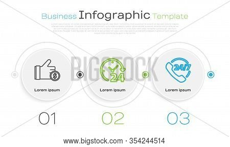 Set Line Hand Holding Coin, Clock 24 Hours And Telephone 24 Hours Support. Business Infographic Temp