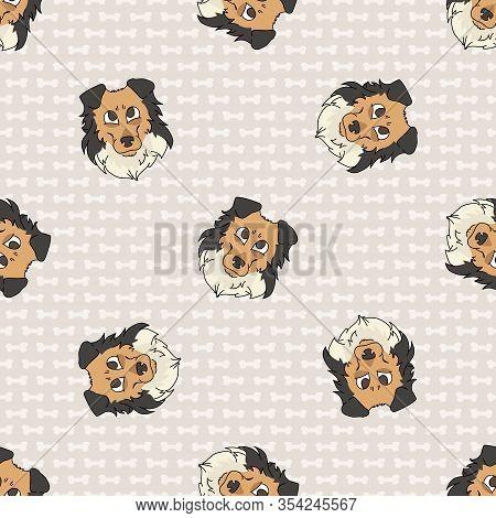 Hand Drawn Cute Rough Collie Puppy Dog Face Seamless Vector Pattern. Purebred Pedigree Puppy Domesti