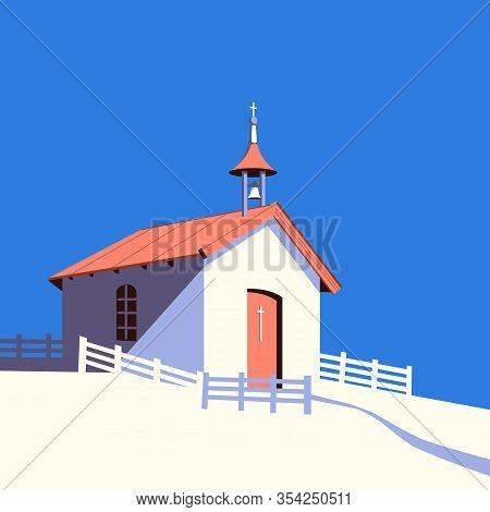 Small Rural Catholic Church Flat Color Vector. Worship Village Building Cartoon Icon. Old Religion P