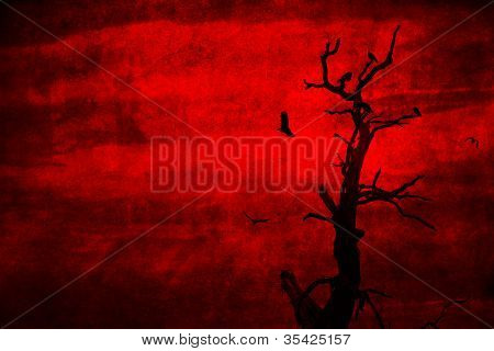 Dead Spooky Tree with Crows