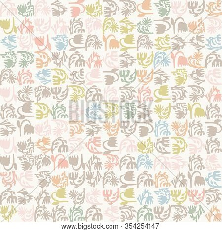 Pastel Cut Out Style Floral Vector Texture. Feminine Geometric Seamless Stylised Flower Pattern. Han