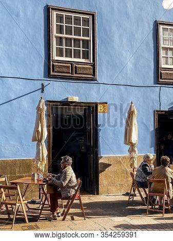Spain, Tenerife, La Laguna, - January 13, 2020: Street View With Beautiful Ancient Houses And People