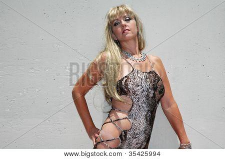 blond in sexy dress