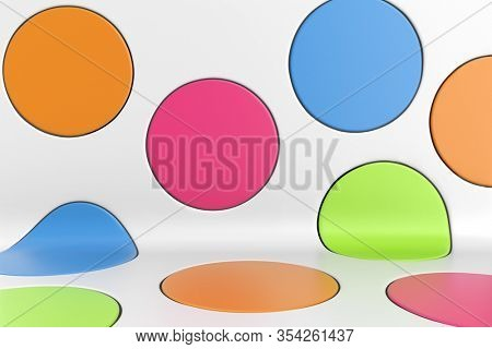 Blue, Green, Pink and Yellow Spots Abstract Design Background. Colorful Round Spots Backdrop. 3D Illustration.
