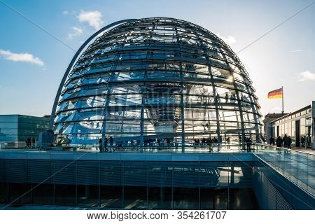 Glass Dome On The Top Of The Reichstag.