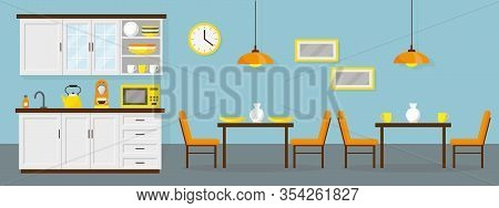 Dining Room Witn Small Kitchen In The Office. Interior Vector Illustration.