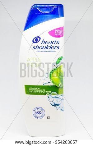 Pruszcz Gdanski, Poland - March 3, 2020: Head & Shoulders Anit-dandruff Apple Fresh Shampoo On White